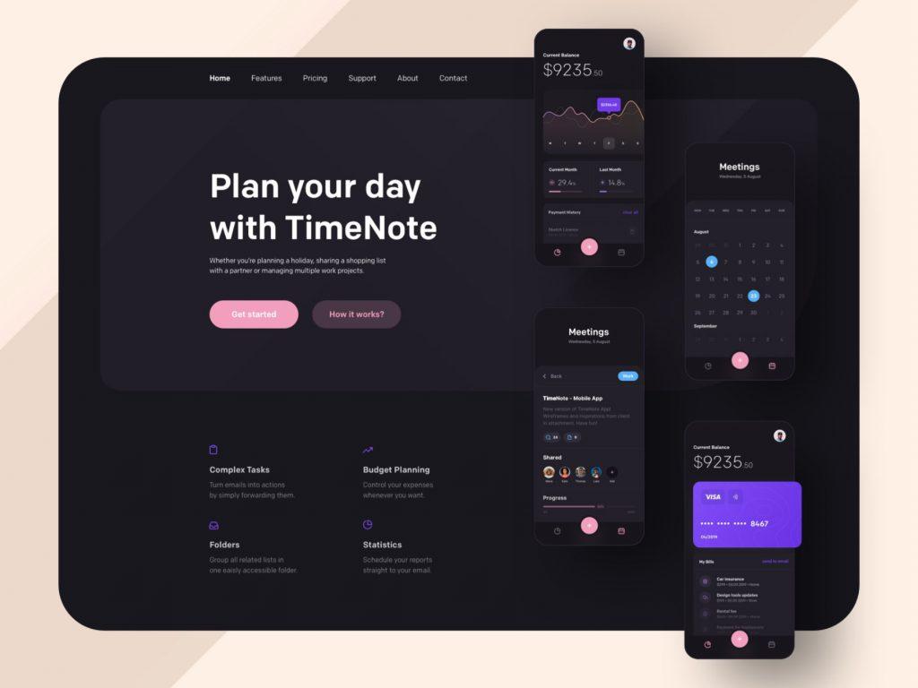 Dark Mode web plan your day